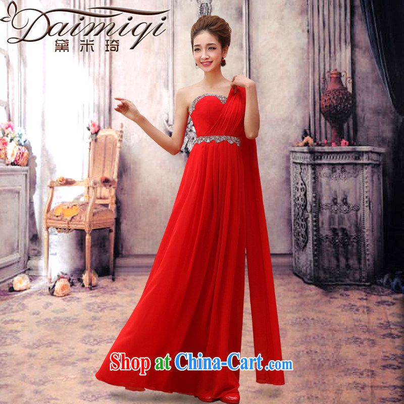 Diane M-kay 2014 new marriage wedding dresses long Graphics thin red bridal the wedding marriage autumn and winter clothing toast the shoulder graphics thin dress red XXL