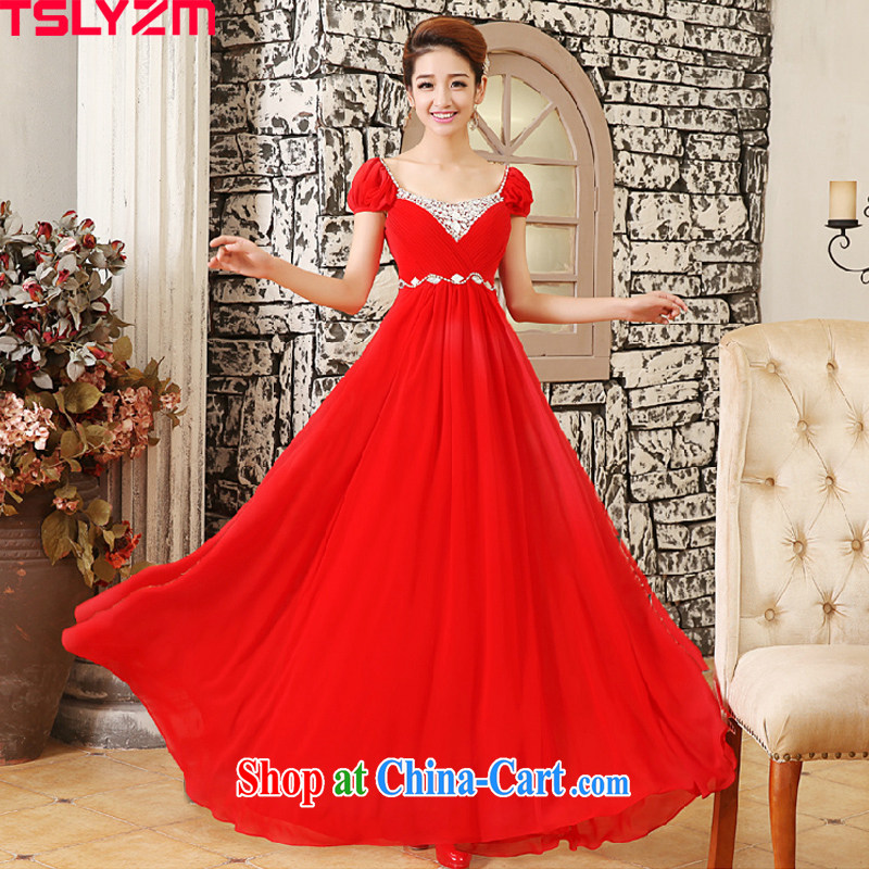 Pregnant women Tslyzm toast Service Bridal wedding dress wood drill long evening dress the Code Red Red XXL
