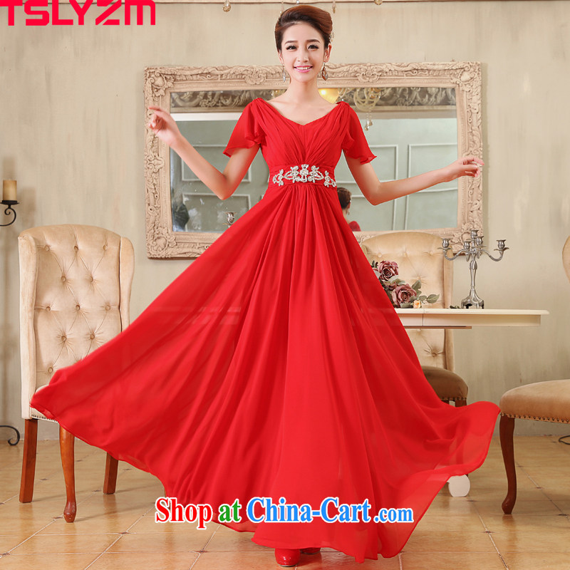 The angels, according to 2014 new bride Korean-style luxury parquet drill double-shoulder V collar long marriage bows show dress the dress fashion long dress red XL