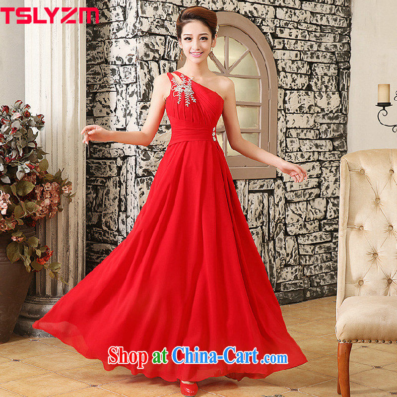 The angels, according to 2014 new Korean marriage toast clothing bridesmaid bridal gown spring long single shoulder snow woven diamond jewelry dresses Evening Dress LF 713 red XL