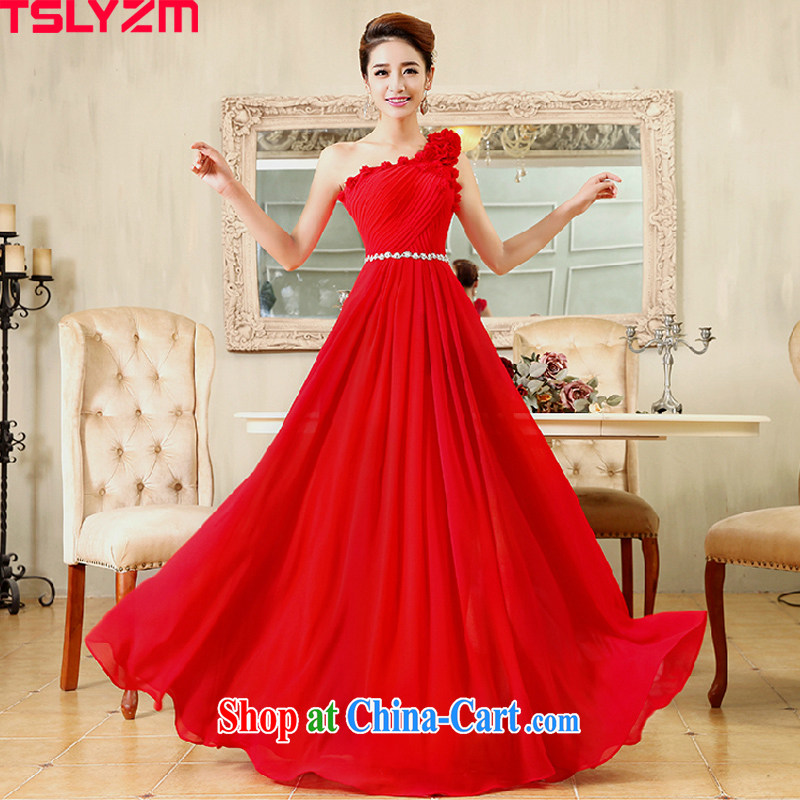 Tslyzm bridal wedding dress pregnant women served toast, length bridesmaid beauty graphics thin flowers single shoulder dress D, red long S