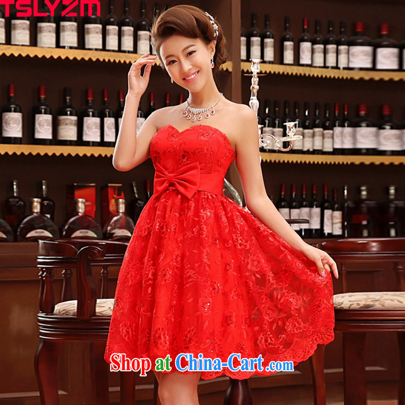 tslyzm summer 2013 new bride shaggy dresses wedding dresses lace red toast serving small dress skirt girls LF 723 red XXL