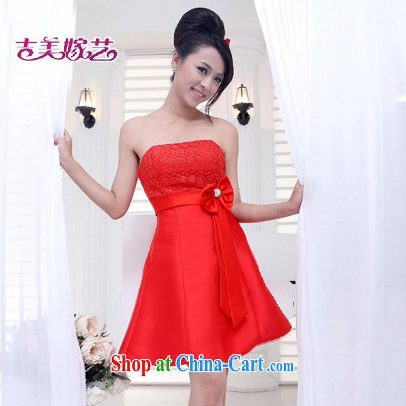 wedding dresses, marry us performing arts 2015 new erase chest Korean short dress L 526 bridal gown red S