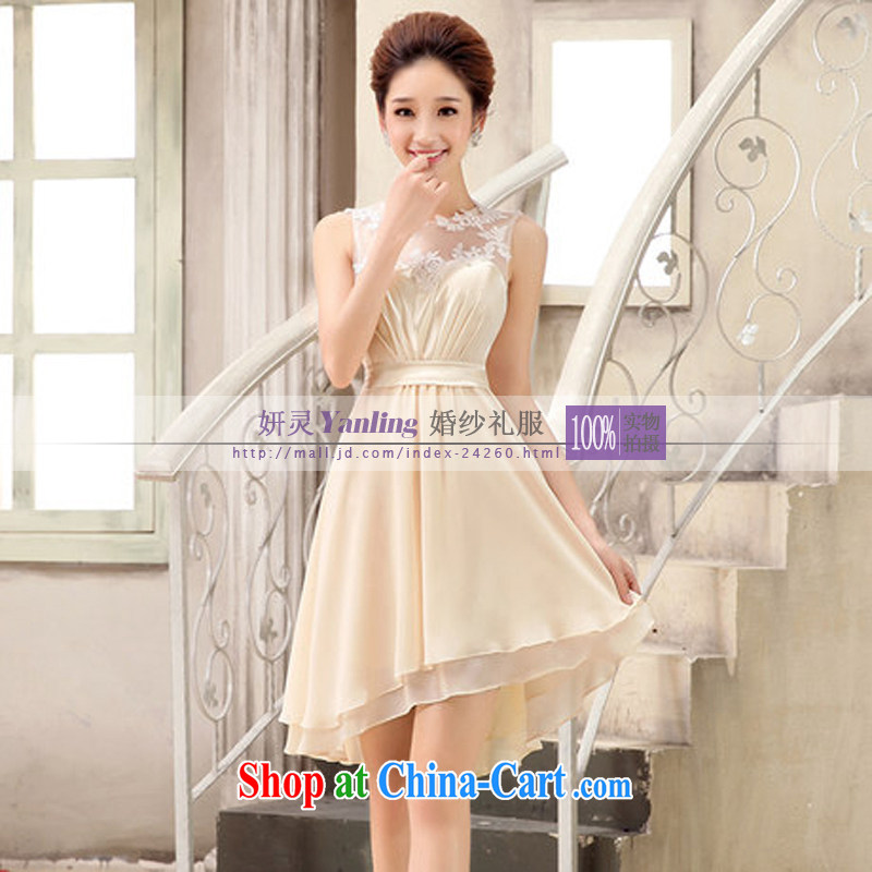 Her spirit Yanling bridesmaid. bridesmaid dress bridesmaid brides with short, small dress the betrothal Evening Show 8812 XLF champagne color XXL