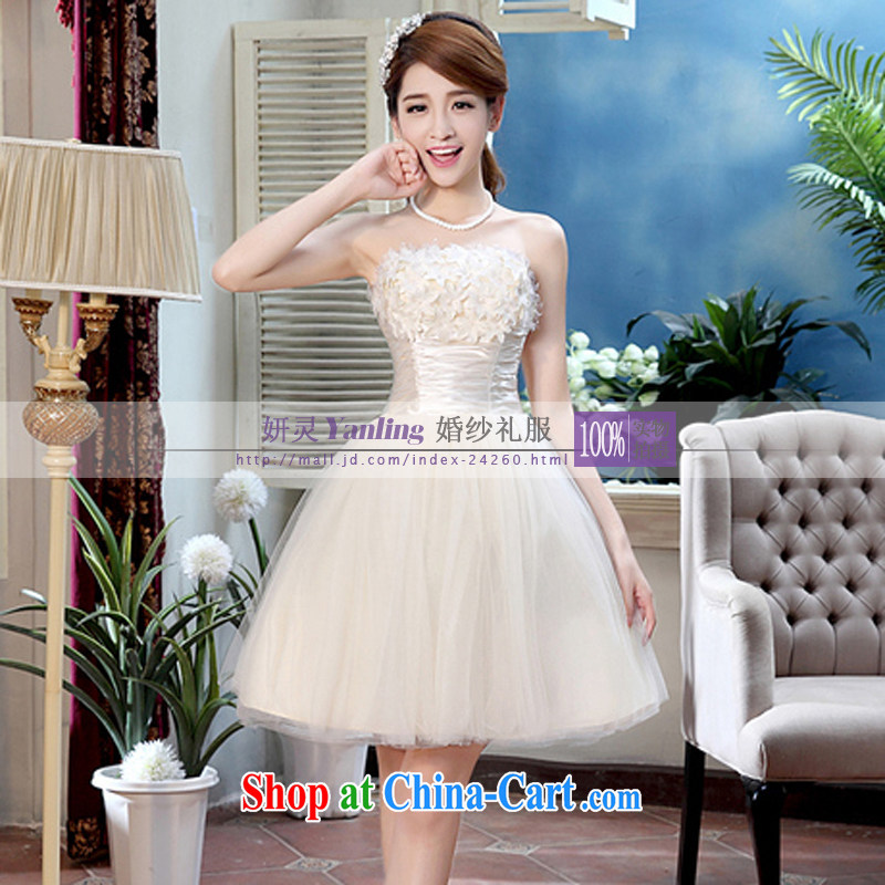 Her spirit Ying bridal wedding dresses bows dress wedding bridesmaid in short, show small dress XLF 326 champagne color XXL