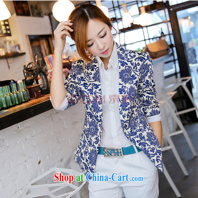ebuluo 2014 spring new Korean female beauty graphics thin blue and white porcelain serving toast bride wore jacket dress XNR 601 blue and white porcelain XL