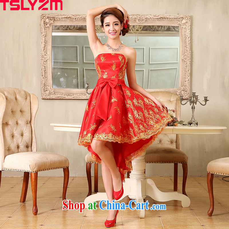 The angels, in accordance with 2015 spring and summer, new bride short before long after marriage yarn lace red toast serving small dress skirt girls embroidery antique improved stylish red XXL