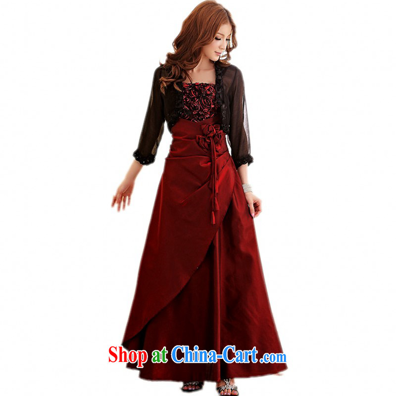 The package-XL ladies' high quality graphics thin rose banquet Evening Dress straps skirt dresses, Chairman, small dress skirt thick mm long skirt bridesmaid dress wine red 2 XL (150 - 170 ) jack