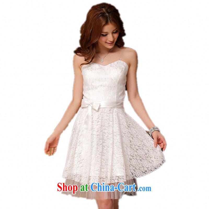 Land is the Yi XL female dress sweet lace bare chest straps skirt wedding sister bridesmaid small dress thick sister XL ladies dress bridesmaid dress white are code (90 - 120 jack)