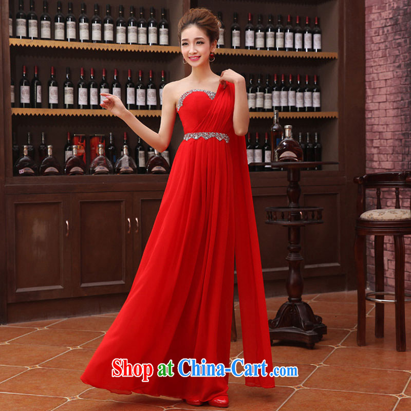 Optimize Philip Wong Yu-hong, the Korean edition shoulder ribbons flash drill snow woven toast serving evening dress XS 8178 red XXL, optimize, and shopping on the Internet