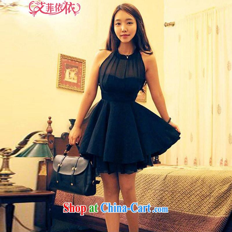 The heartrending Web yarn stitching sexy moderator dress skirt 2015 Korean New jerseys sleeveless beauty back exposed snow woven large dress 5036 black L code