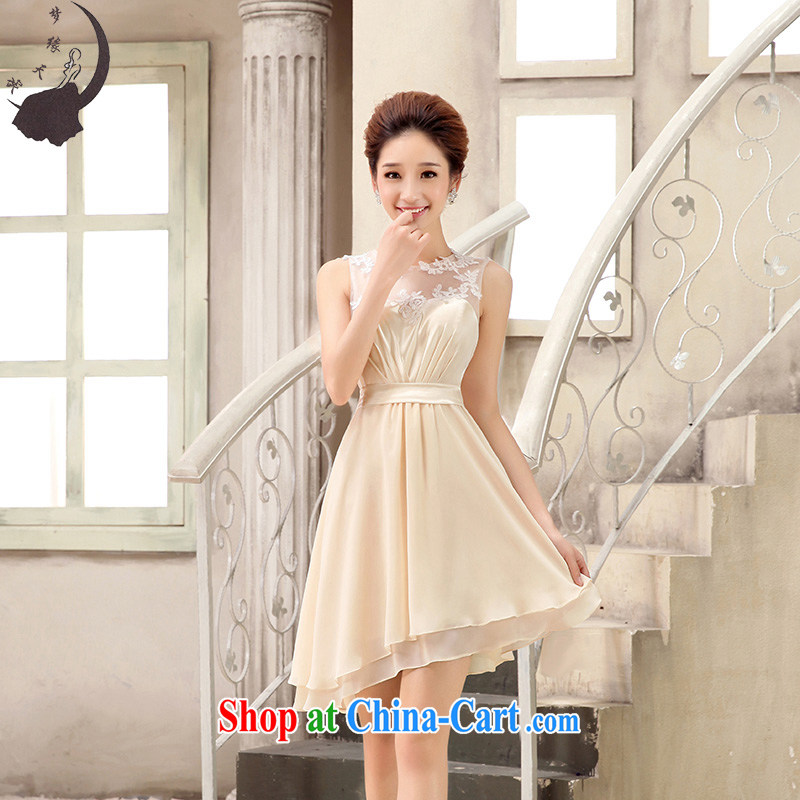 Let the day the bridal wedding bridesmaid dress bridal short small dress the betrothal Evening Dress uniforms sister dress 8812 8812 champagne color XXL 2.3 feet waist