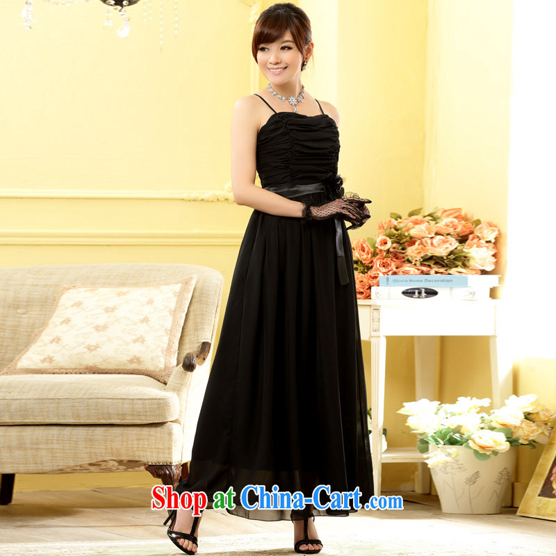 Shallow end _QIAN MO_ stylish sister dress bridesmaid flowers longer dress snow woven large code dress black XXXL