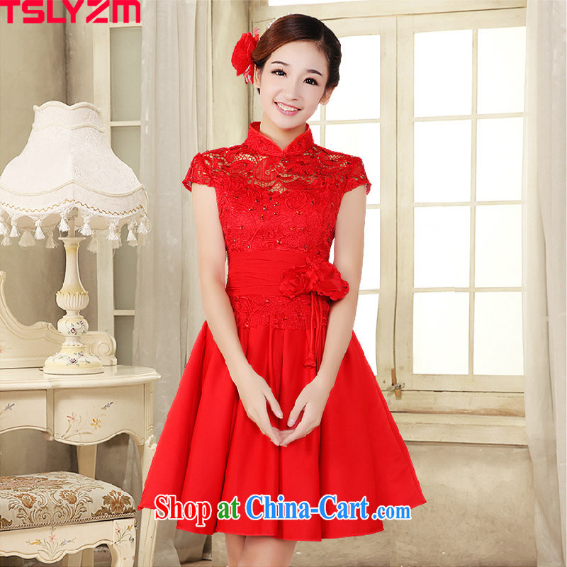 Tslyzm 2015 spring and summer new bridal dresses wedding dresses lace red package shoulder short bows dress uniform dress the betrothal service female Red XXL