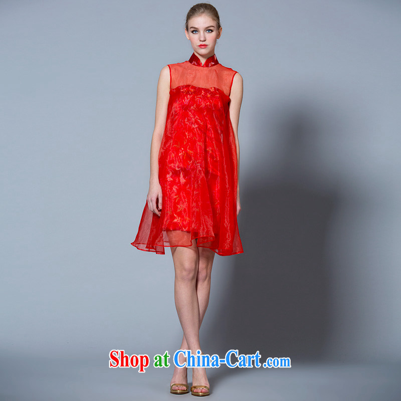 A yarn 2015 new bride short high-waist bows clothes summer Chinese, for Korean women who married cheongsam dress 40121016 red XL code 20 days pre-sale