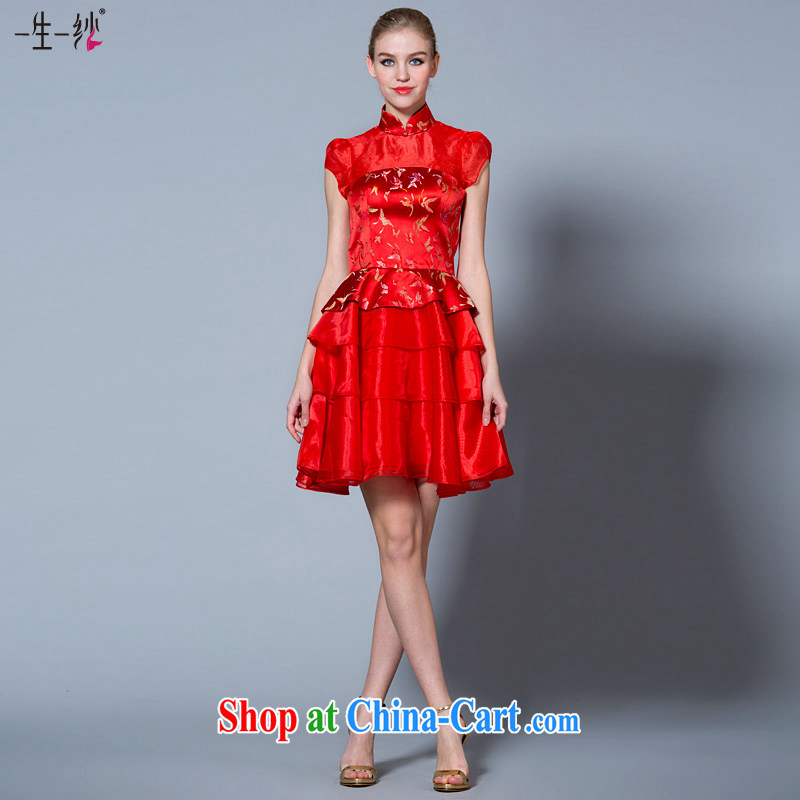 A yarn 2015 new bride short high-waist bows serving Chinese, for Korean pregnant women married cheongsam dress 40221054 red XL code 20 days pre-sale
