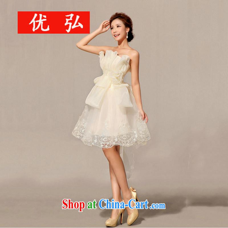 Optimize video 2013 new bridesmaid dress uniform toast short Evening Dress XS 7140 champagne color L