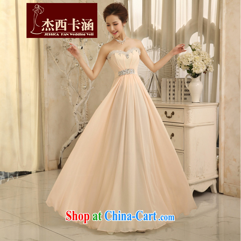 Jessica covered by wedding dresses 2014 new erase chest fall red tie-Korean dress 5065 toasting champagne color XL