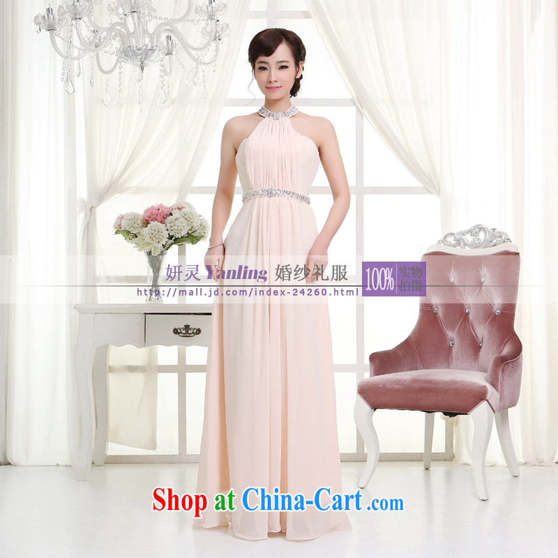 Her spirit_YL 2014 new bride wedding dresses Evening Dress toast serving long - 14,048 pink XXXXL