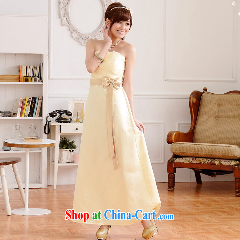 JK 2. YY elegant pressure hem and noble the waist and a colorful spell color long version sexy dinner will dress dresses champagne color XXXL