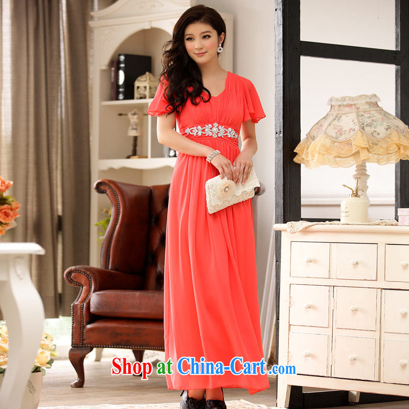 JK 2. YY Korean version of Yuan flouncing cuff video thin dinner Chairman, the dress code pregnant women dress orange XXXL