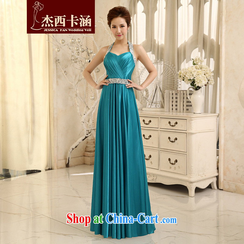 Jessica covers 2014 new wedding dresses red Korean version is too long evening dress wedding toast service 5068 Lake blue XL