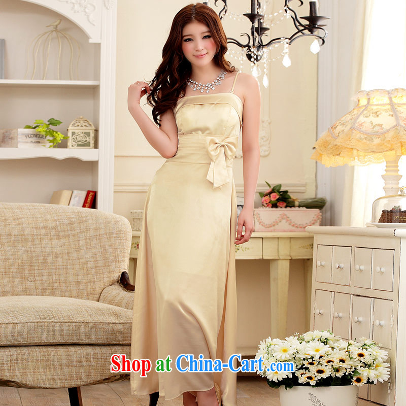 JK 2. YY sumptuous dinner attire beauty emulation, straps long dress champagne color XXXL