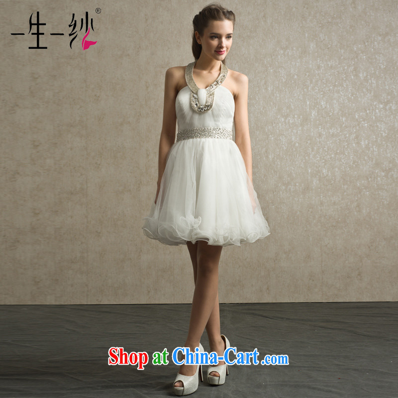 A dresses dresses 2015 new Snow woven High-waist-mounted too short dress bridesmaid dress dress white BS 32,018 white M code 15 days pre-sale