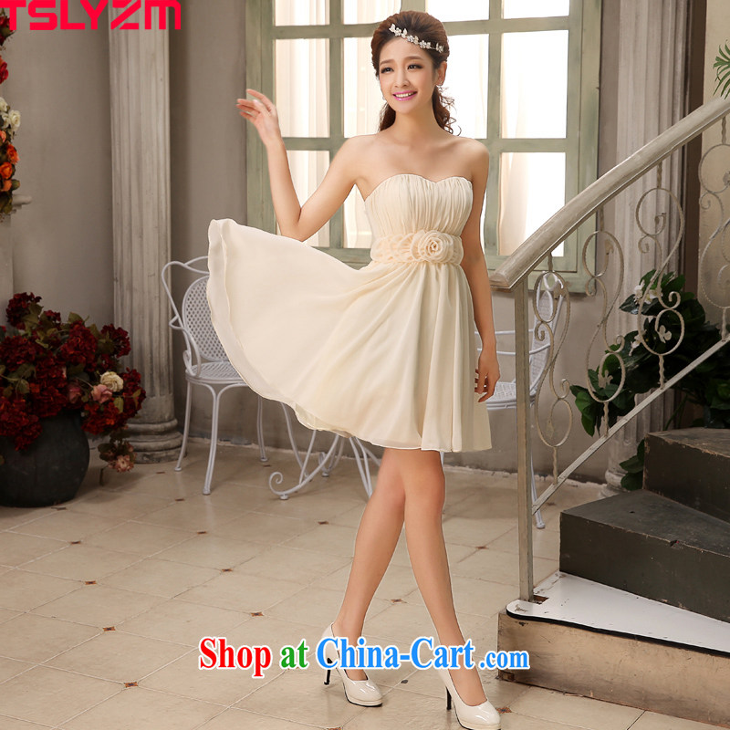 Tslyzm 2015 new bridesmaid dress skirt short spring bridesmaid sisters served as small dress bridesmaid's bare-color champagne color Dinner Evening dress A L