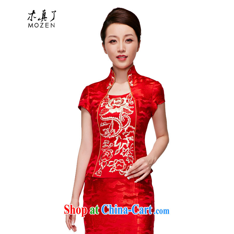 Wood is really the 2015 embroidery bridal fitted T-shirt red short dress beauty wedding dresses 22,082 05 red XXXL
