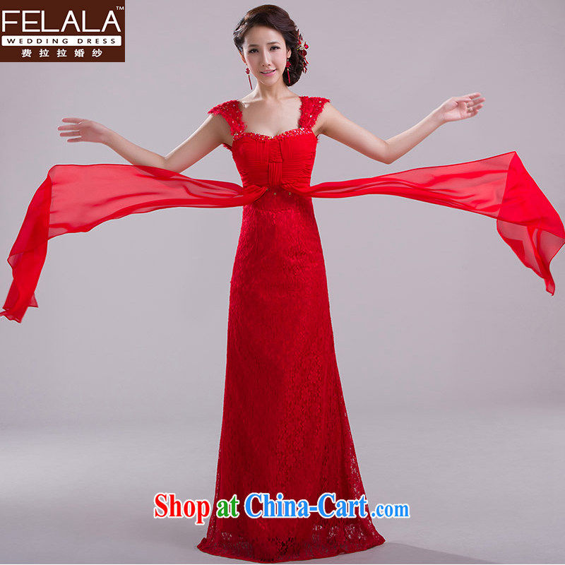 Ferrara 2015 new dual-shoulder red bridal toast serving long lace wedding dress dress, spring evening dress XL Suzhou shipping