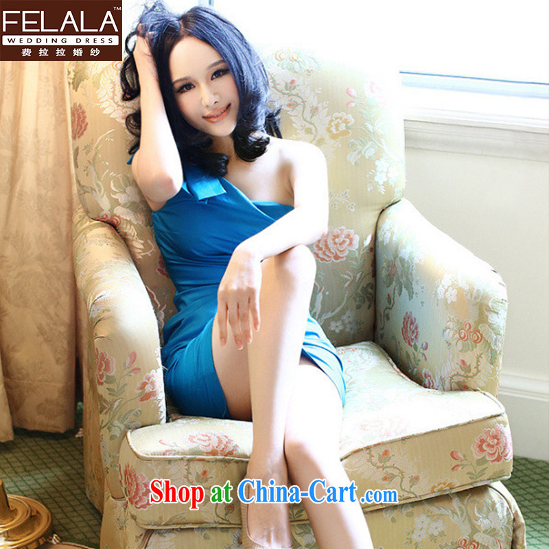 Ferrara single shoulder Annual Meeting dress bridesmaid mission Small dress is a shoulder cultivating short Evening Dress bridesmaid clothing autumn and winter L Suzhou shipping