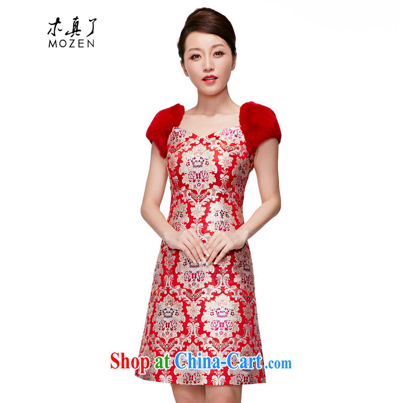 Wood is really the MOZEN 2015 spring and summer New Silk rabbit hair bridal dresses short Evening Dress package mail 22,086 04 red XL