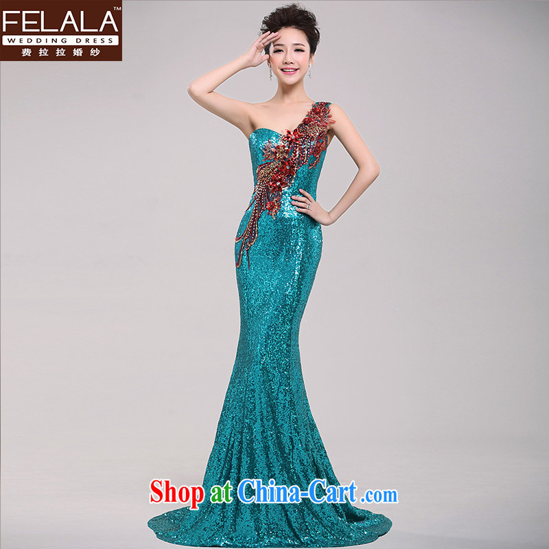 Ferrara 2015 new long single shoulder-tail Evening Dress Wedding Company Annual meeting moderator dress bridesmaid clothing Ice Blue XL Suzhou shipping