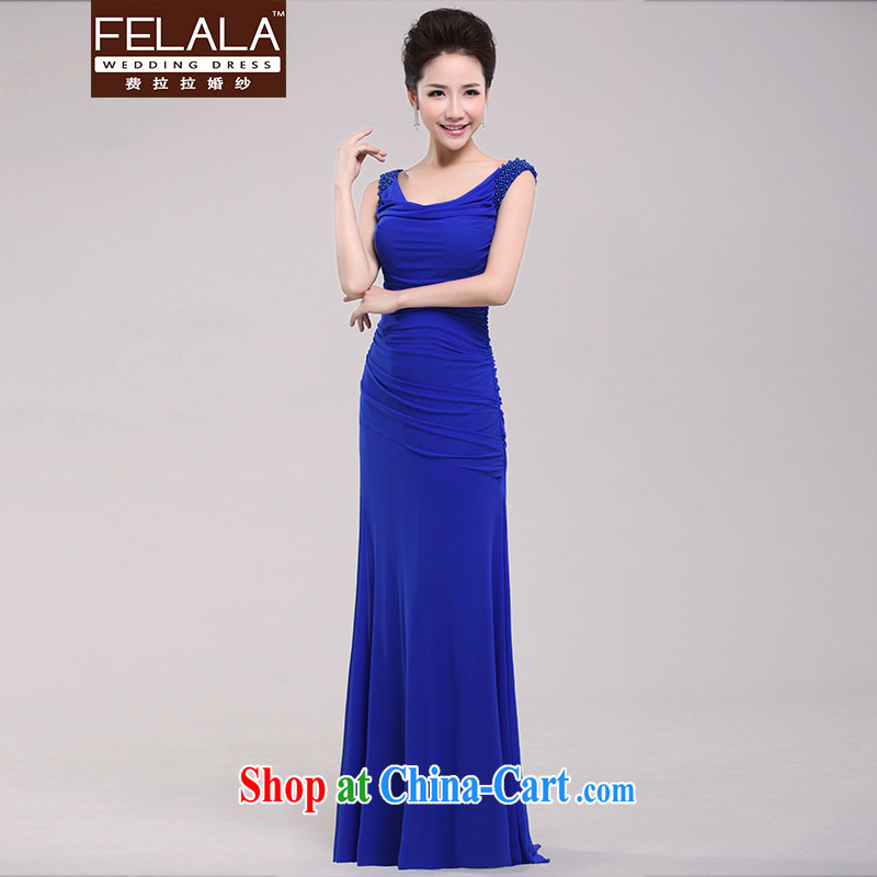 Ferrara 2015 new elegant shoulders crowsfoot graphics thin dress company dress annual moderator dinner blue XL Suzhou shipping