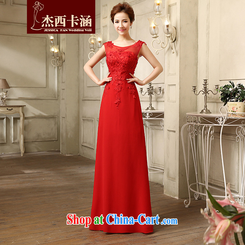 Jessica covers bridal wedding toast wedding dresses 2014 new Korean lace long evening dress Evening Dress lifu 5075 red L