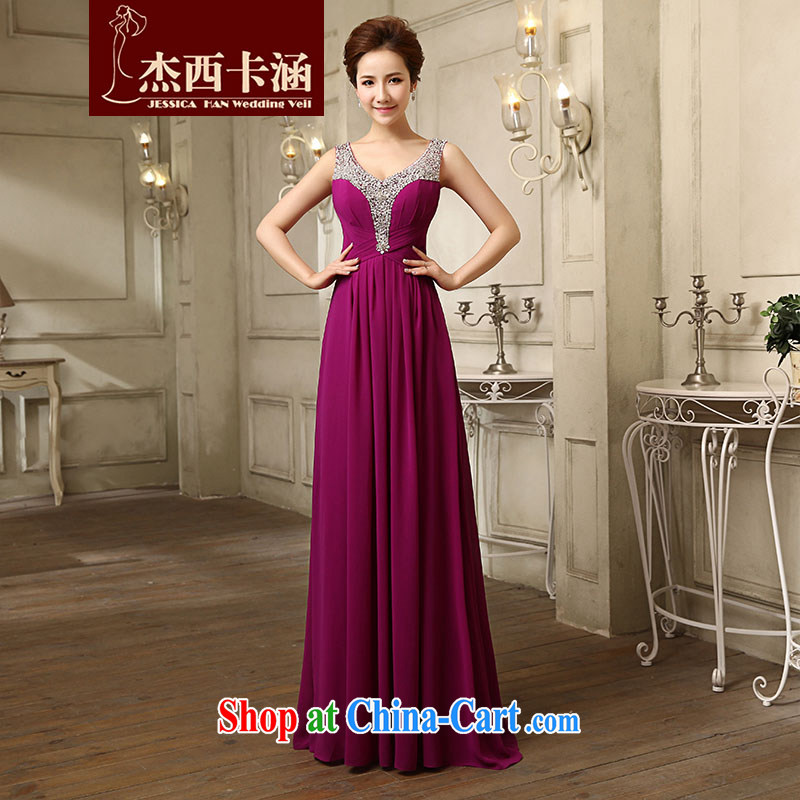 Jessica covers wedding dress summer 2014 new marriages Korean long fall red evening dress uniform toast 5076 purple L