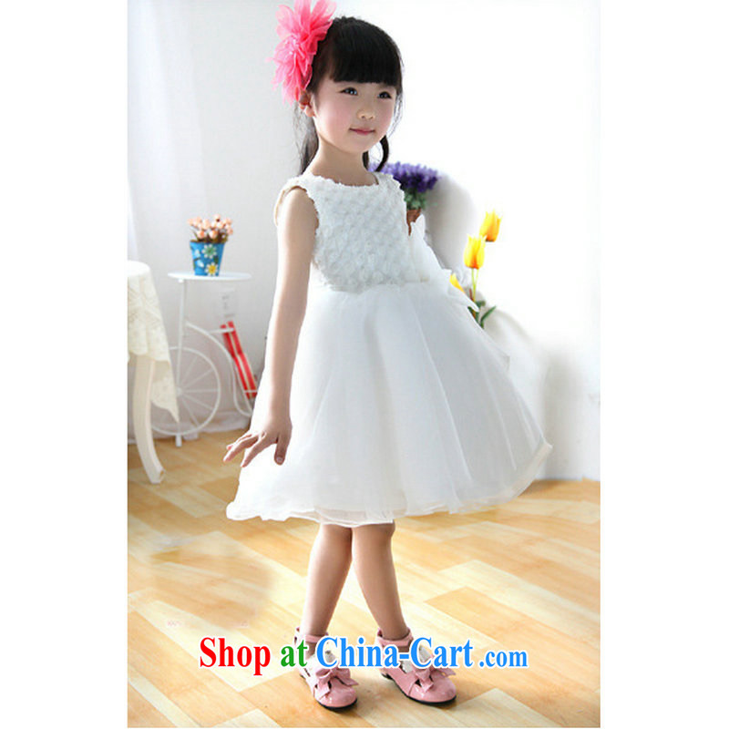 Optimized high-Korean girls Princess dress wedding 61 children costumes shaggy skirts the girls flower dress children's wear T 29 white 10 yards