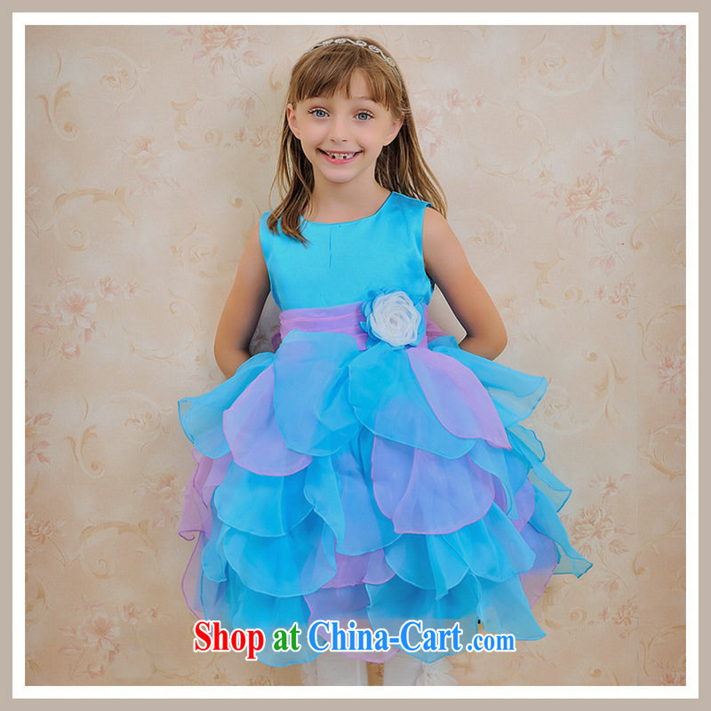 There are optimized color Kingfisher children's wear skirt Princess flower wedding dress girls' performances performances skirt suits skirts children shaggy dress evening dress dress XS 1055 sea blue 10 yards