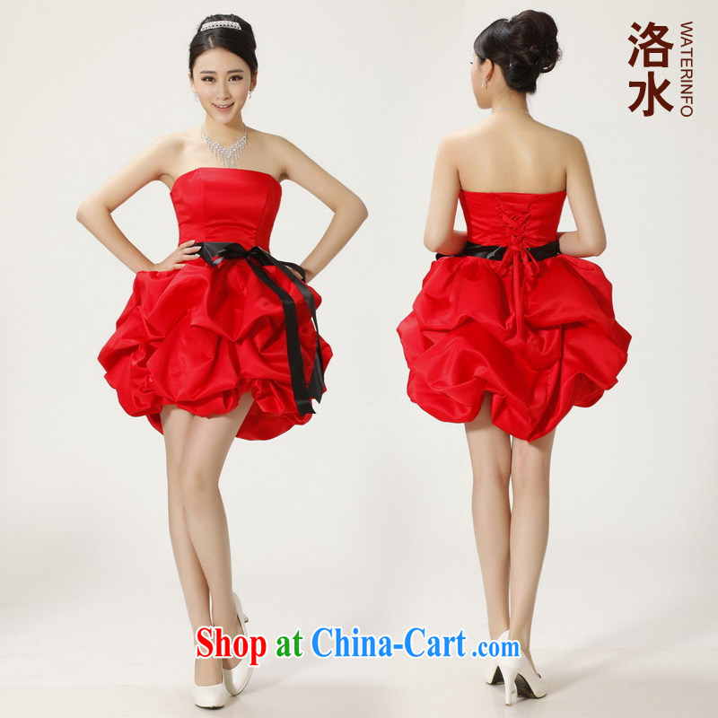 The female 2014 bridal bridesmaid toast short Evening Dress wedding dinner show shaggy small dress red XXL