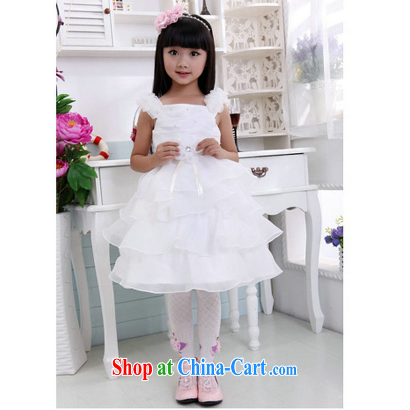 Optimize Hung-Korean girls Princess dress children wedding dresses the girls costumes flower dress shaggy skirts T 08 white 10 yards