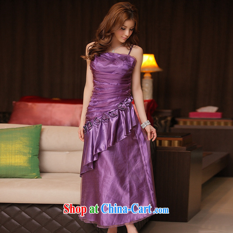 JK 2. YY dinner is a flouncing straps long version dress dresses purple XXXL