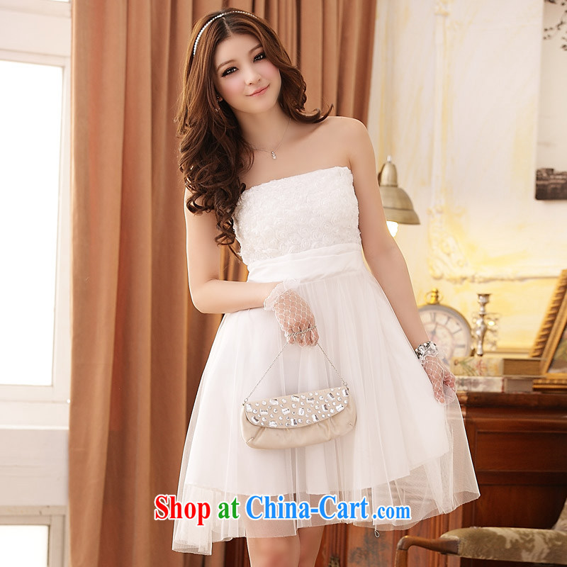JK 2. YY romantic rose-waist Web yarn end chest dress dress white XXXL