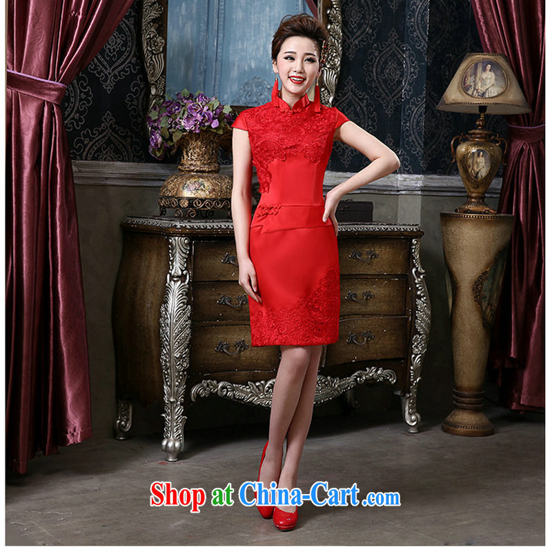 There is a red sexy retro bridal cheongsam dress short QQC 1005 red L