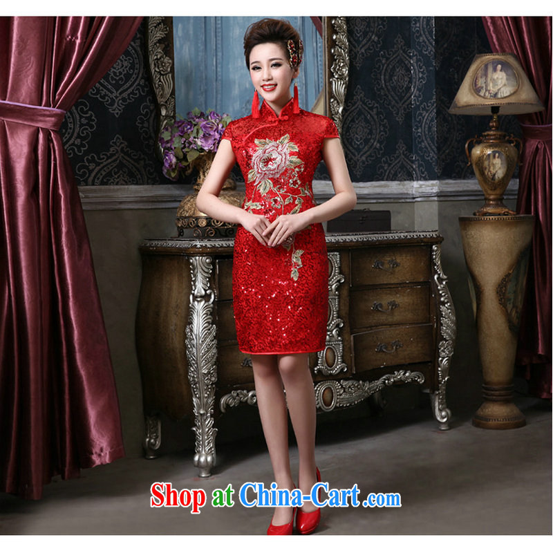 There is a red retro bridal wedding short Evening Dress QQC 1008 red XXL