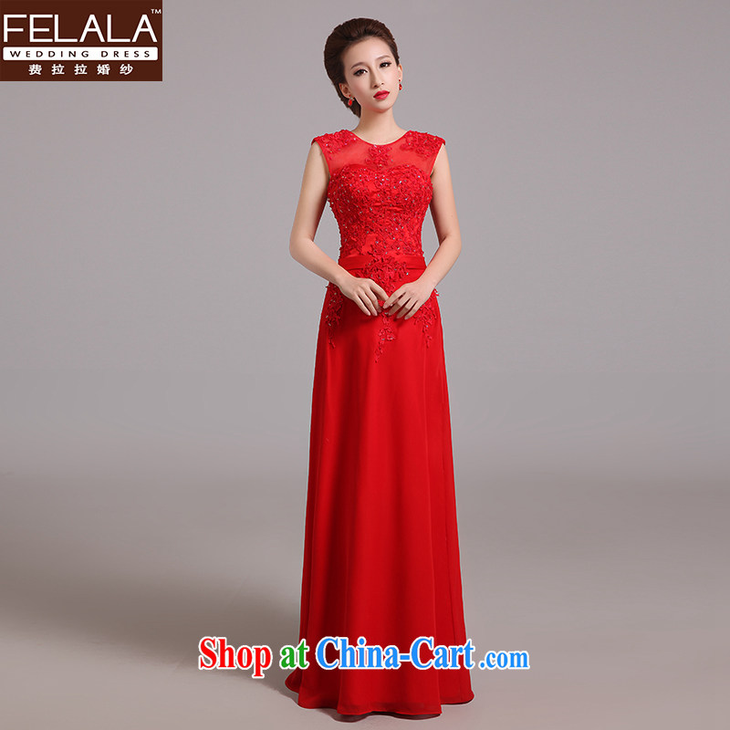 Ferrara 2015 New Red lace a shoulder dress long bridal toast serving Korean-style beauty, spring red XL Suzhou shipping