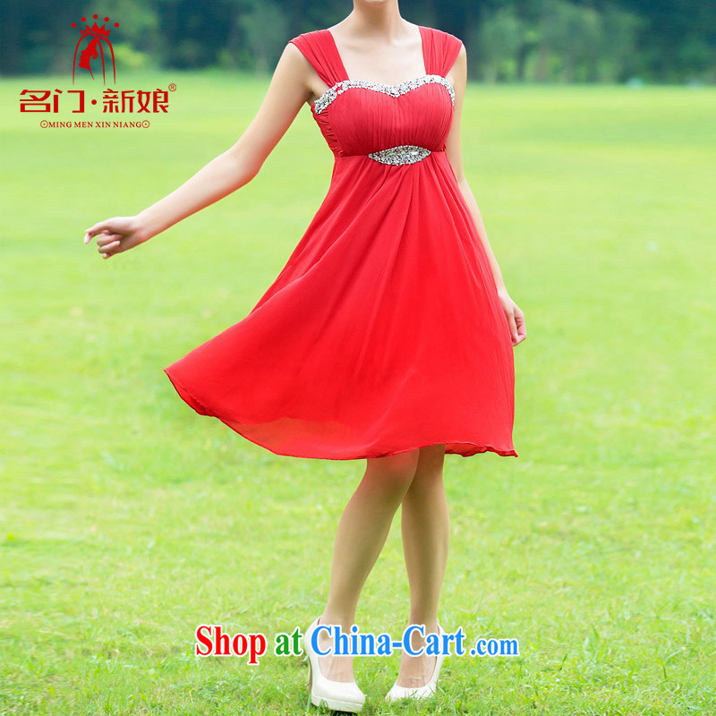 The bride's wedding dresses red dress wedding toast serving pregnant women dress high waist dress 329 L
