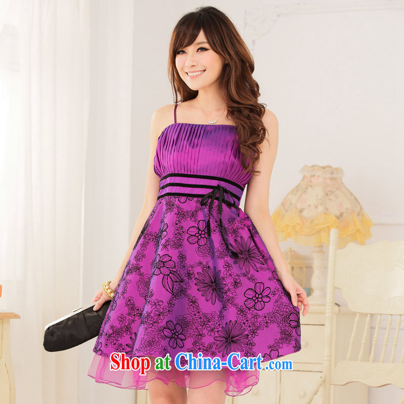 JK 2. YY 2014 elegant antique process value lint-free flower thin waist straps dress dresses purple XXXL