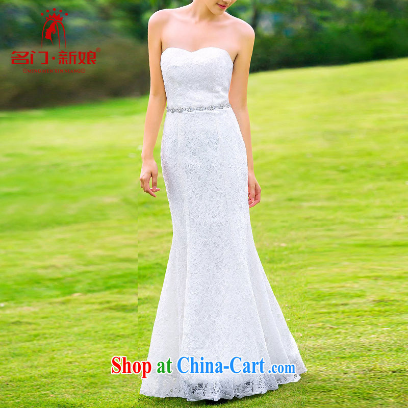 The bride's wedding dresses 2015 new dress uniform toast bridesmaid long red evening dress 237 white L