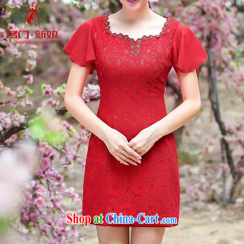 The bride's wedding dresses flowers manually cultivating lace red dress bows dress short 345 S